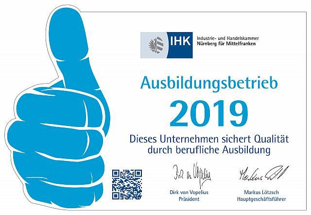 Anerkannter Ausbildungsbetrieb der IHK Nürnberg 2019