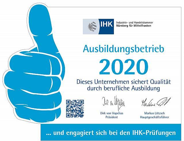 Anerkannter Ausbildungsbetrieb der IHK Nürnberg 2020